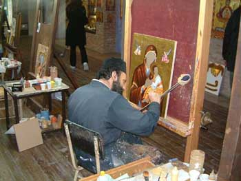 icon painter at work in Meteora