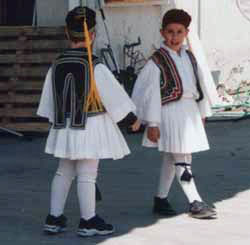 Traditional outfits on Indpependence Day near Meteora in Kalampaka