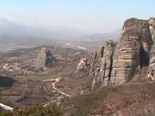 The rocks of Meteora overlooking the valley