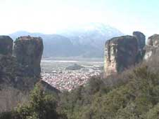 Views of Kalampaka through the rocks of Meteora