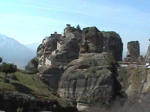 Monastery perched atop Meteora rocks