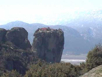 The Monastery of the Holy Trnity perched on top of a rock in Meteora