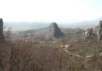 Meteora. Enormous rocky outcrops rising skywards