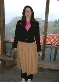An example of the skirt worn even over trousers for women at the Meteora monasteries