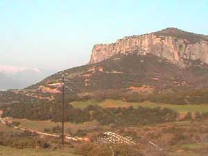 Superb views of Meteora and the mountain range beyond from the front of Pension Arsenis